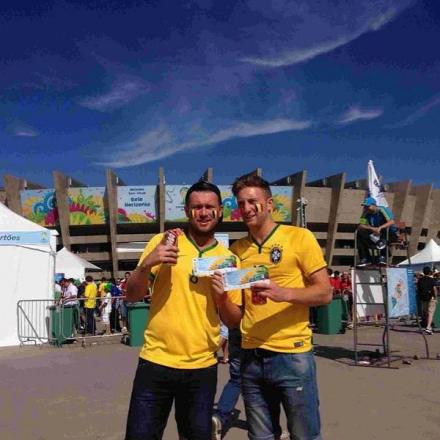 ON THEIR TRAVELS: Steve Colwell, right, in Belo Horizonte with a friend
