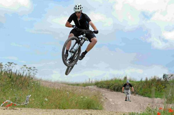 FLYING HIGH: A participant in the Big Reach Enduro mountain bike challenge at Rogershill Raceway Bere Regis