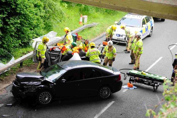 Dorset Echo: CRASH: The scene on Weymouth Way  Picture: GRAHAM HUNT