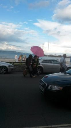 Olivia Colman arrives in Weymouth