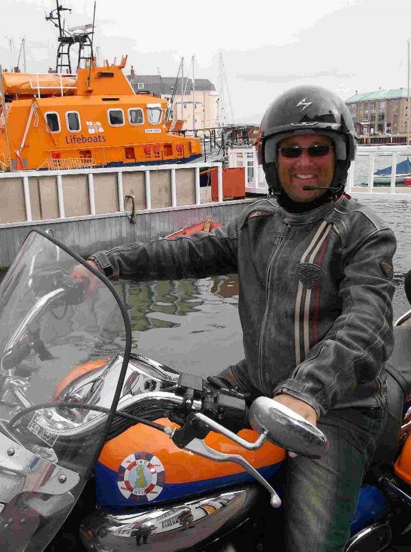 ON THE ROAD: Motorcyclist Matt Hawkes visits Weymouth Lifeboat Station on his venture around Great Britain to raise money for the RNLI