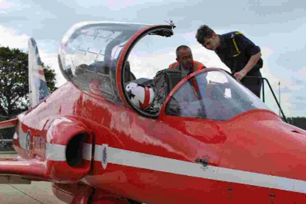 THE SKY'S THE LIMIT: Cadet Sergeant Joseph Ashley checks out a Red Arrows jet