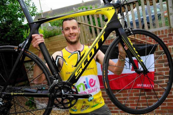 Cyclist ready for seat of suffering