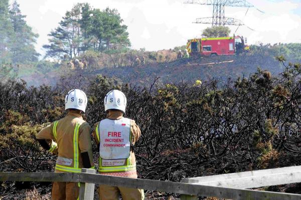 UPDATE WITH PICTURES: 40 firefighters tackle heath blaze started deliberately