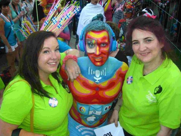 BODY LANGUAGE: Jennie Roberts from Bridport, with Laurence Caird and Cat Finlayson taking part in the World Bodypaint Championships in Austria