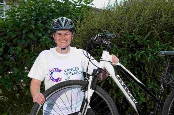FINE FORM:  Nicky Randell in training for her 50-mile bike ride for Cancer Research