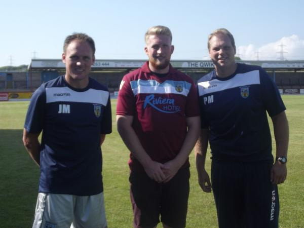 ON BOARD: Ed Palmer with manager Jason Matthews and Paul Maitland