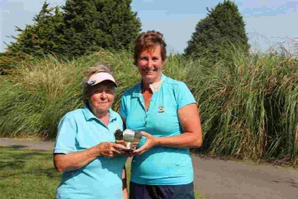 SILVER LINING: County Interclub Foursomes champions Dilys Grant and Sally Davis