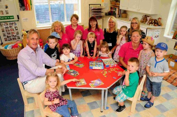 Richard Drax MP with staff and pupils of Rodwell Pre-School
