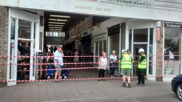 Traders hit out as cordon put up at Dorchester shopping arcade
