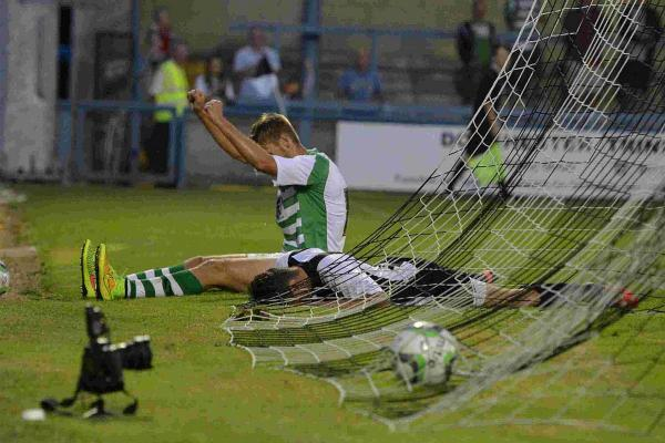 ADDING TO THE AGONY: Sam Foley celebrates after scoring Yeovil's ninth goal