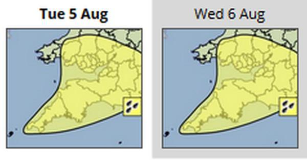 The Met Office has issued a yellow weather warning for tonight and tomorrow