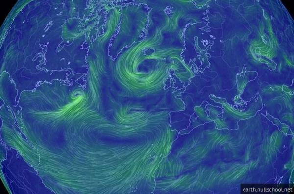 The latest image of Storm Bertha moving towards the UK- Pic by Earth.nullschool.net