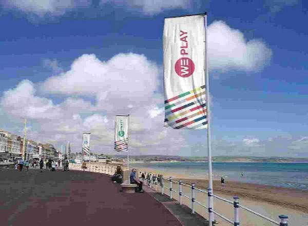 HIGH STANDARDS: The planned 'We Welcome' WEYMOUTH-branded flags which will be going up along the Esplanade in the next few weeks thanks to the BID