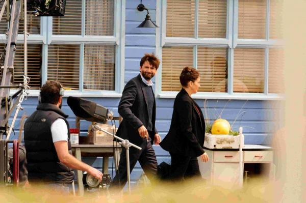 David Tennant filming at chalets next to the Riverside Restaurant.  Picture: GRAHAM HUNT