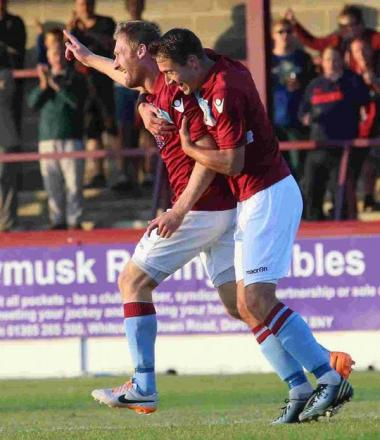 TERRAS' JOY: Jamie Laird celebrates with Chris McPhee