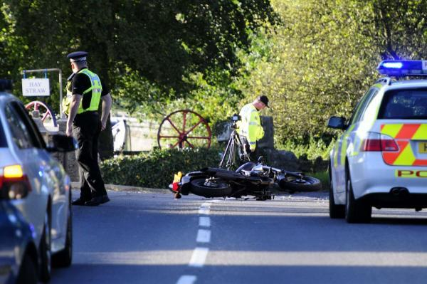 The crash scene on the A353 at Poxwell. Picture: GRAHAM HUNT