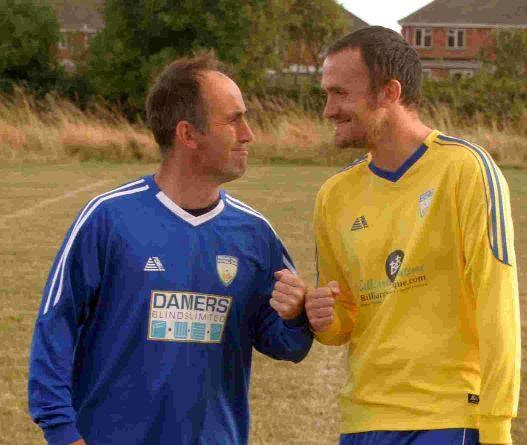 UP FOR THE CUP: Portland Town A boss Ben White (yellow) and B team manager Colin Rice (blue) square up