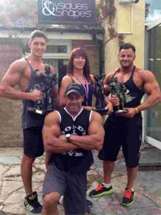 IN GREAT SHAPE: Sean Ferguson, front, with successful Physiques & Shapes members at the Dorset Classic