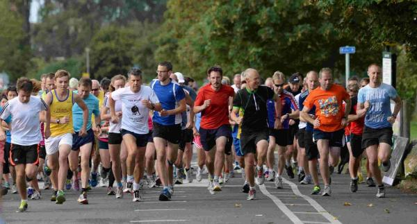 THEY'RE OFF: Runners at the start of the Weymouth Parkrun at Lodmoor
