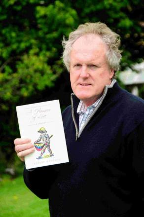 Robert Montagu with his book A Humour of Love which details his sexual abuse at the hands of his father Victor Montagu, the 10th Earl of Sandwich