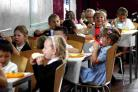 Pupils from St Nicholas and St Laurence enjoy school meals at Wey Valley