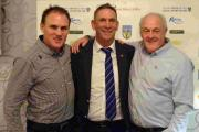 ALL SMILES: Portsmouth legend Alan Knight, centre, with Terras' boss Jason Matthews and chairman Chris Pugsley