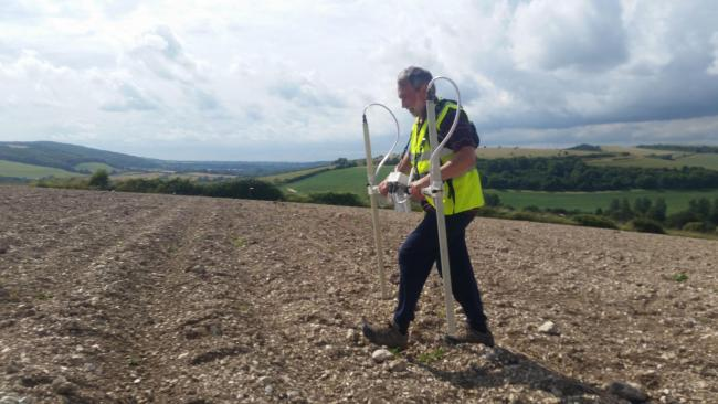 Geophysical survey at Ash Farm, near Stourpaine, Dorset, with Hod Hill in the background