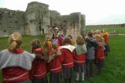 Youngsters at Portchester Castle in Hampshire