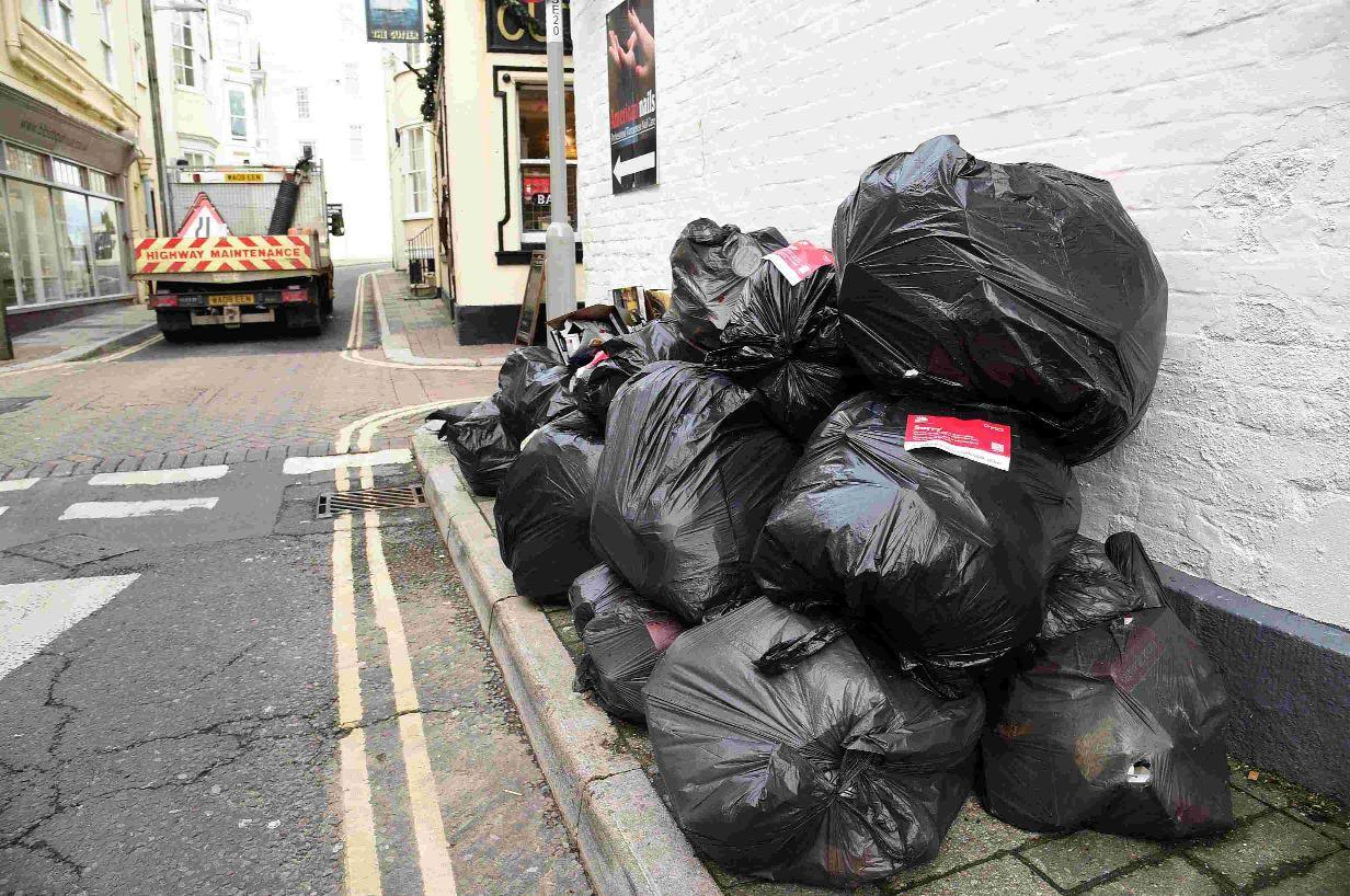 Uncollected rubbish in East Street