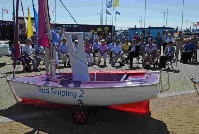 The Chesil Sailabilty launch of a dinghy donated by Elma Shipley in memory of Rod Shipley