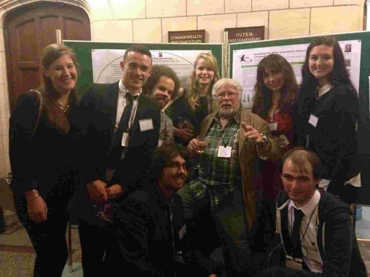 VISIT: Kingston Maurward students in Parliament with the conservationist Bill Oddie