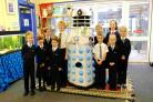 EXTRATERRESTRIAL VISITOR: Derek the Dalek with IPACA pupils at their Southwell Campus
