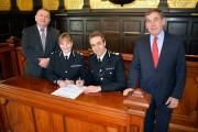 PCC Martyn Underhill, Chief Constable Debbie Simpson, Chief Constable Shaun Sawyer and PCC Tony Hogg.