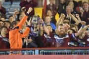 MAGIC MOMENT: The Terras lift the Dorset Senior Cup at the Bob Lucas Stadium