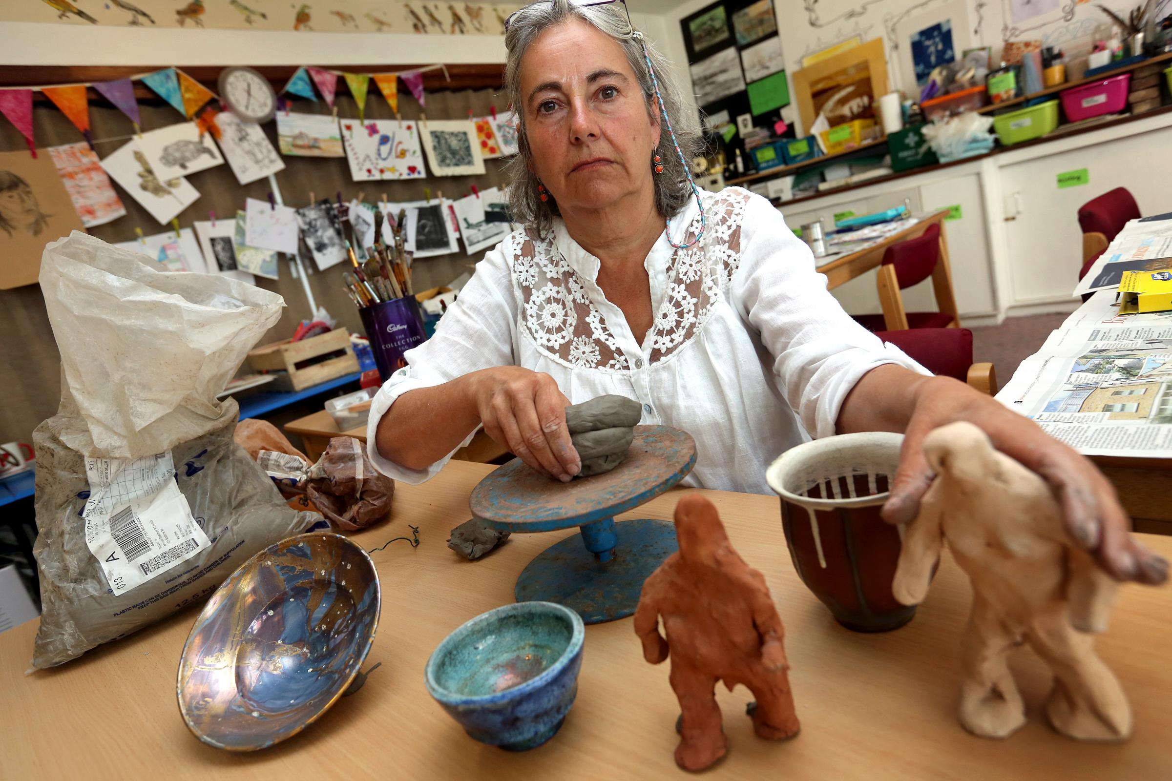 Pauline Stanley, pictured, and her partner Tim Russell are looking for a new venue for their community ceramics studio or they face loosing their Grants for Arts funding.