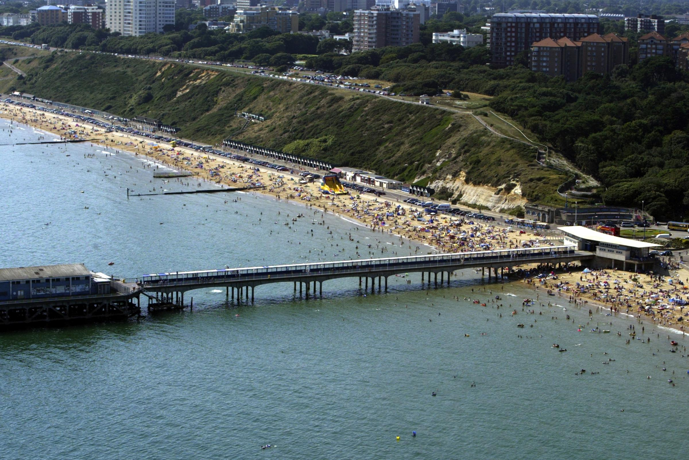 Boscombe Beach and pier and East Overcliff Drive