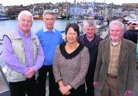 READY FOR THE DRAGON: Organising committee for the 2007 Dragon Edinburgh Cup in Weymouth. Pictured, from left: Rob Campbell, David Dunn, Gavia Wilkinson-Cox, Dennis George and Derek Abbott  			    Picture: GRAHAM HUNT/HG2283