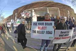 STOP THE ROAD: Anti-road campiagners outside County hall in Dorchester