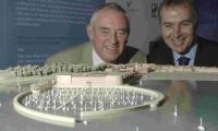 THAT WAS THEN: Borough councillor Geoff Petherick and Howard Holdings' Martin Jepson study a model of the Pavilion site scheme last October