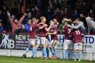 ELATION: Weymouth celebrate finding the net with the home fans during the second half against Slough Town