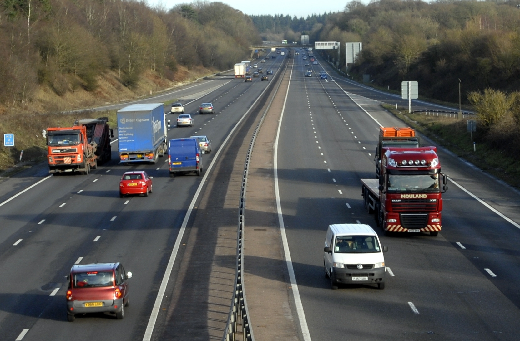 View of the M3 motorway, from Junction 7, Basingstoke, on Wednesday January 19, 2011.