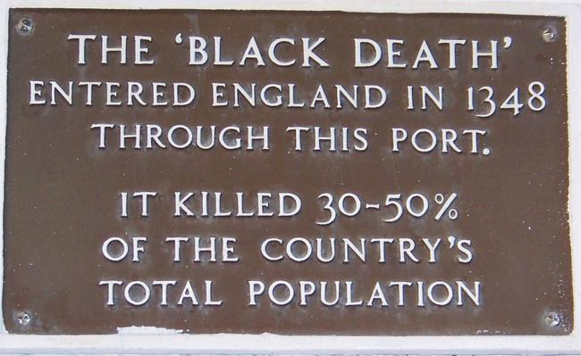 Black Death plaque in Weymouth