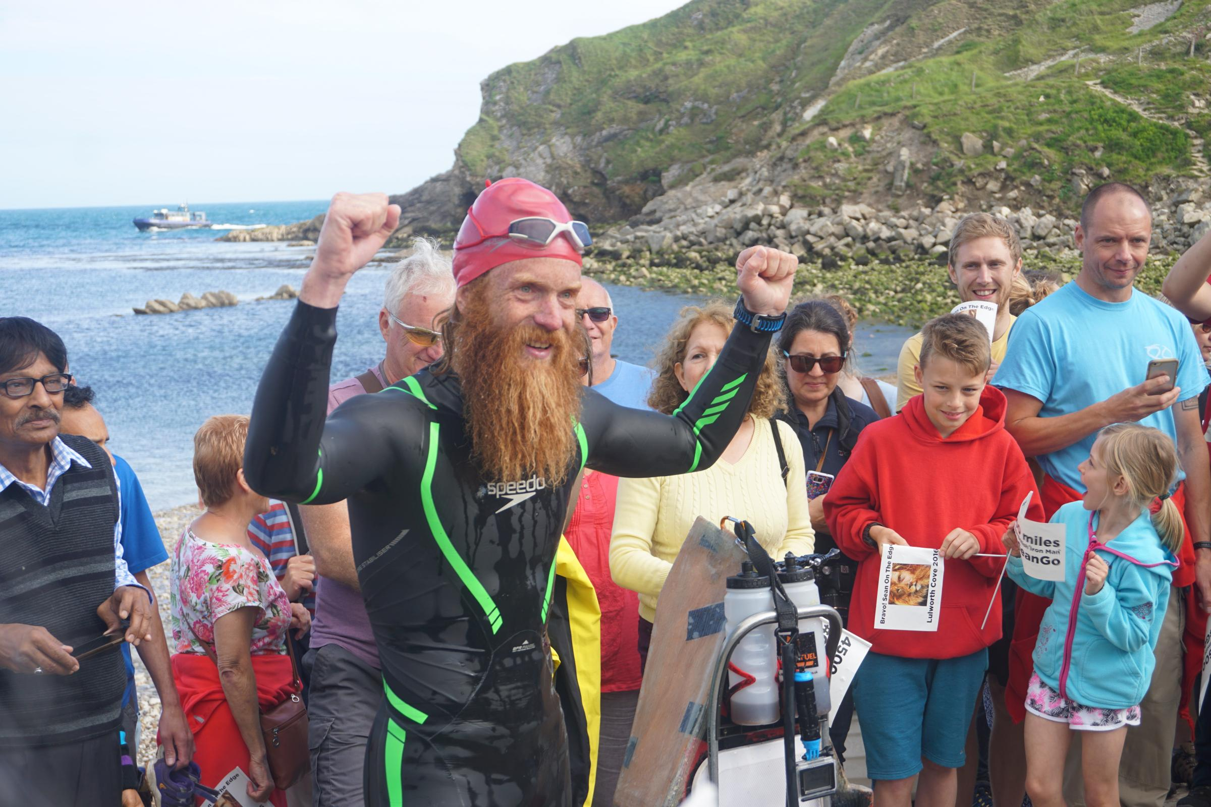 PICS AND VIDEO Sean Conway returns to Lulworth Cove after world s