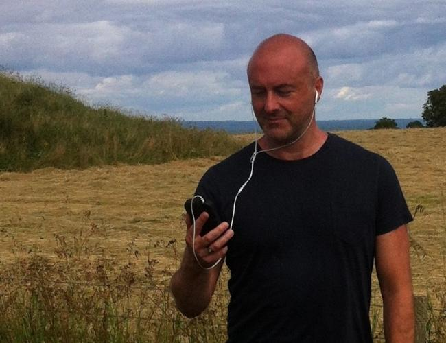 WALKING IN TO HISTORY: Marc Yeats testing the app on the South Dorset Ridgeway