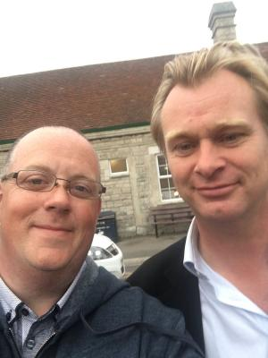 Dorset Echo: As excitement builds for Dunkirk filming in Weymouth, one holiday maker snaps a selfie with director Christopher Nolan