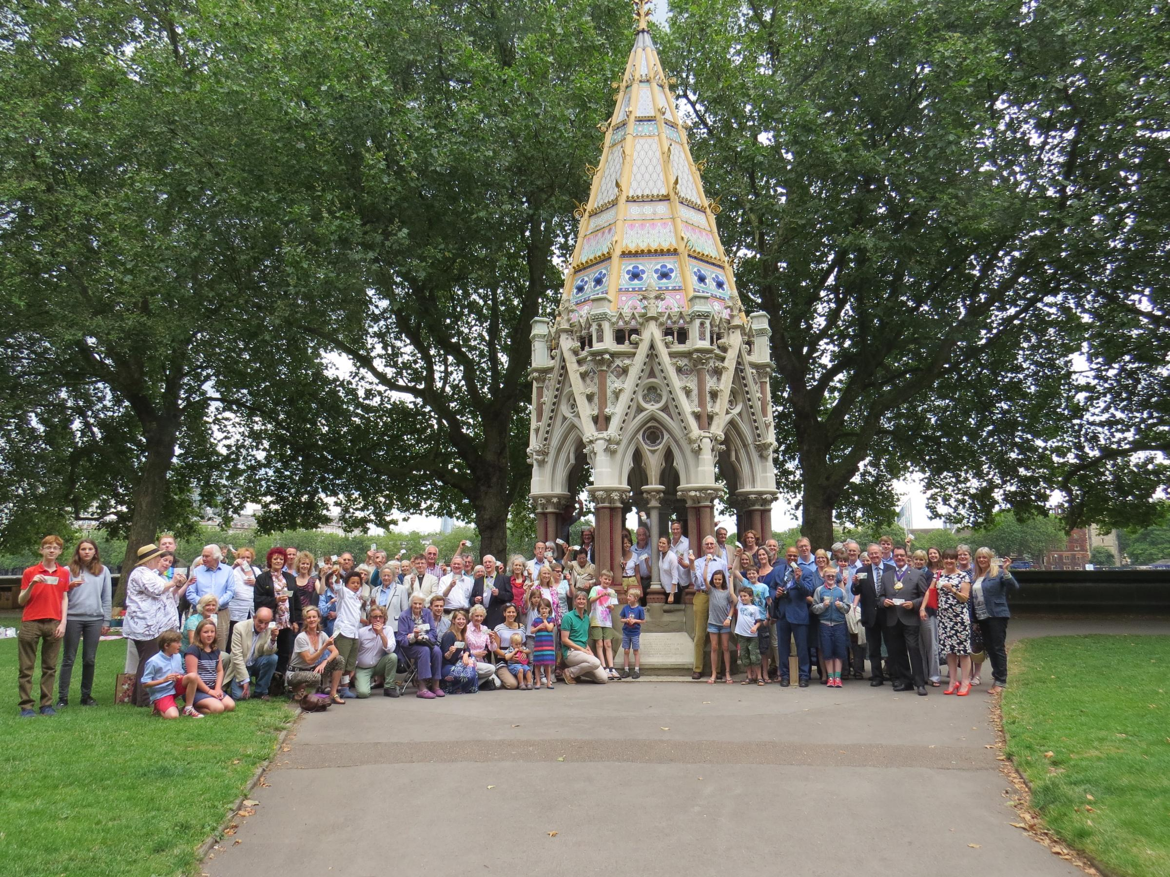 MEMORIAL: Members of the Thomas Fowell Buxton Society pose with Buxton family members around Buxton Fountain in Victoria Park (Photo by Joe Buxton)