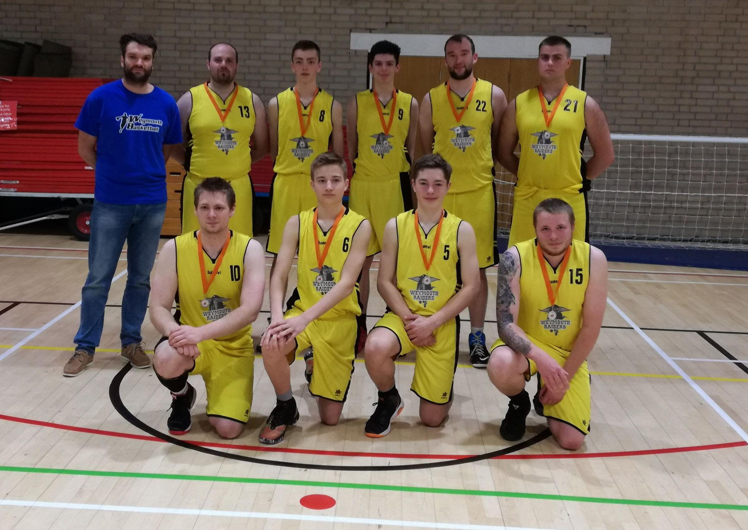 RUNNERS-UP: The Weymouth Raiders after their narrow defeat to Exeter College
