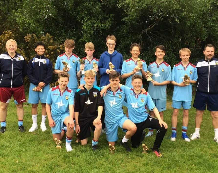 LEAGUE CUP WINNERS: The Weymouth under-15 squad show off their trophies