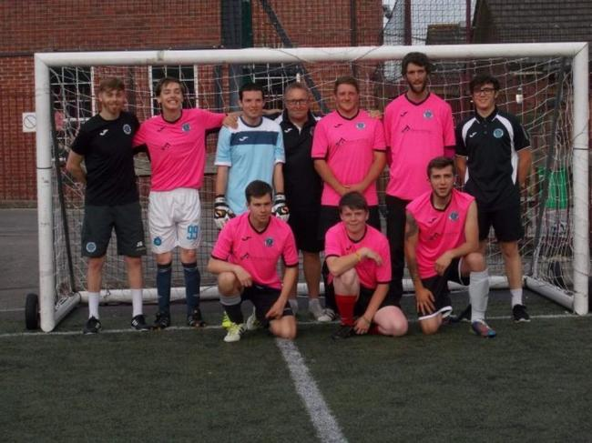 FLYING HIGH: Dorchester Town's Abiluty Counts team, pictured back row: Coach Jason Brookes, Alfie Lumb, Dan Williamson, Shaun Hearn, Jamie Bown, Jack Harrison, coach Harvey Hearn. Front: Danny Kiy, Kieron Eden and Brendan Butcher PIcture Nina Nerwi?sk